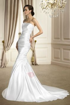 Tidebuy.com Offers High Quality  Trumpet/Mermaid Sleeveless Ruched Sweetheart Court Train Matte Wedding Dress, We have more styles for Strapless Wedding Dresses