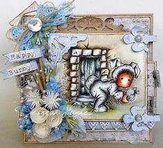 Handmade Magnolia card 'Tilda hiding Easter Egg scene' (boxed)
