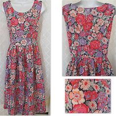LAURA ASHLEY Floral Sleeveless Dress Jumper US 10