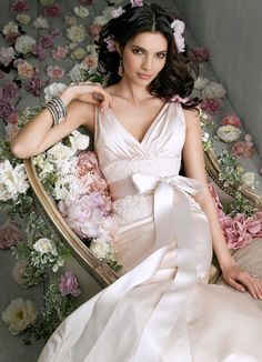 Bridal Gowns, Wedding Dresses by Jim Hjelm - Style jh8863.....Blush Silk Satin trumpet bridal gown, V-neckline with soft drape front and back, sleeveless bodice with Ivory Alencon lace midriff, Ivory satin ribbon, godets at back, chapel train   Blush, White, Ivory or Antique I COULD ABSOLUTELY  SEE MY  OLDEST DAUGHTER IN THIS GORGEOUS BLUSH SATIN SILLOUGHUETTE GOWN