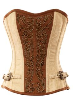 Steampunk cream and brown overbust corset from victoriandreams.nl   Beautiful. I love that its atmosphere is feminine and soft.
