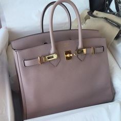 Baby Birkin in Glycine Hermes Bags, Hermes Handbags, Hermes Birkin, Purses And Handbags, Luxury Bags, Luxury Handbags, Beautiful Handbags, Online Bags, Handbag Accessories
