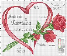 Cross-stitch Ribbon Heart with Roses Set, part 3...   <3