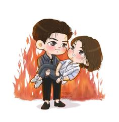 Cute Chibi Couple, Love Cartoon Couple, Cute Couple Art, Cute Love Cartoons, Lets Fight Ghost, Korean Drama Best, Korean Dramas, Drama Funny, Human Drawing