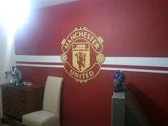 Manchester United themed room - hand painted other walls painted with soft cream