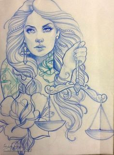 Tattoo Artwork by Steffi Boecker    i have been looking for a libra tattoo, and i can honestly say i love this tattoo...