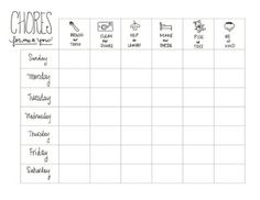 Printable Kids Chore Chart!