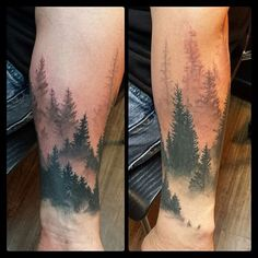 Progress on this misty forest tattoo by @genghis_mccampbell. Big mountains are next! #gurutattoo #happytrees #blackandgraytattoo #sandiego