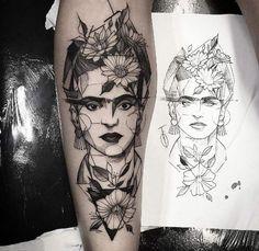 Geometric Frida Khalo tattoo by Fredao Oliveira