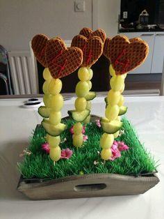 Stroopwafel hartjes met druiven