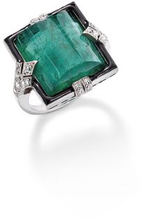 An emerald and diamond ring The modified cabochon emerald, weighing approximately 15 carats, set within a black enamel border, to brilliant-cut diamond-set stylised fleur-de-lys shoulders and further diamond highlights Art Deco Jewelry, Jewelry Rings, Jewelry Accessories, Fine Jewelry, Jewelry Design, Geek Jewelry, Jewellery, Antique Jewelry, Vintage Jewelry