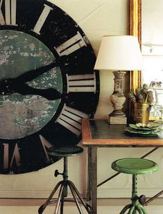 The Punctual Man: Decorating with Clocks Inside Man Big Wall Clocks, Cool Clocks, Decorating Your Home, Diy Home Decor, Decorating Tips, Oversized Clocks, Rock Around The Clock, Inside Man, Clock Decor