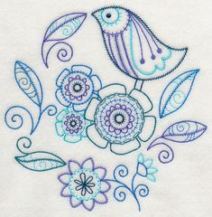 Embroidery Pattern of Paisley bird from emblibrary.com. jwt