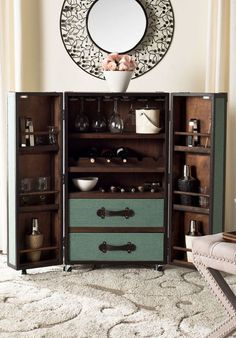 Stateroom Bar in Ivory or Black - Steamer Trunk Bar Cabinet ...