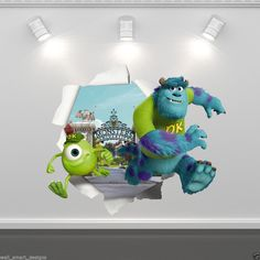 MONSTERS INC MIKE SULLEY FULL COLOUR WALL STICKER DISNEY BEDROOM DECAL MURAL