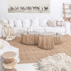 :: Start Fresh With White Decor :: - Coastal living room space decorated with natural textures and materialst on a white palette - Coastal Living Rooms, Boho Living Room, Living Room Interior, Home And Living, Living Room Decor, Interior Livingroom, Style At Home, Beach House Decor, White Decor