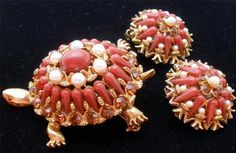 Vintage Har Turtle Set Brooch Earrings Signed Figural Rhinestone Red Orange | eBay