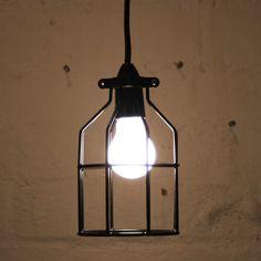 Black Industrial bird cage light pendant by Mulbury