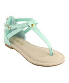Mint Pyramid Stud T-Strap Sandal
