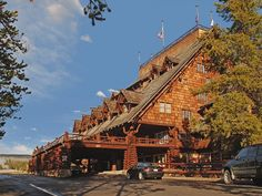 old-faithful-inn. Best location in Yellowstone Nat. Park-beside Old Faithful Geyser. Book year in advance. Don't miss spot where Boiling River hot spring meets Gardner River-bathe in steam clouds.