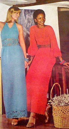 2 (Two) Vintage Crocheted Women's Haltered Gown and Summery Duet Pattern by MAMASPATTERNS on Etsy