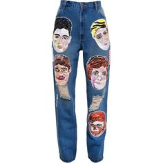 Ashish 'One Direction' boyfriend jeans ($2,955) ❤ liked on Polyvore featuring jeans, pants, bottoms, denim, multicolour, boyfriend jeans, ashish, boyfriend fit jeans, colorful jeans and blue jeans