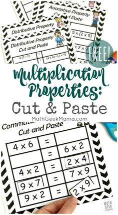 Help your kids make sense of the properties of multiplication with these super easy and low prep cut and paste pages! Includes practice with the commutative property, associative property and distributive property. This simple set is free! Distributive Property Of Multiplication, Associative Property, Properties Of Multiplication, Multiplication Activities, Math Games, Math Activities, Division Activities, Numeracy, Properties Of Math