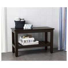 HEMNES Bench, gray, 32 Perfect in a small bathroom. Perfect in a small bathroom. Small Entryway Bench, Small Bench, Bench With Shoe Storage, Ikea Bench, Bench Furniture, Small Furniture, Ikea Organization, Ikea Storage, Storage Ideas