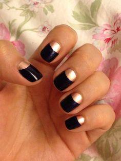 Rose gold and navy half moon nails