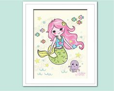 Adorable mermaid Nursery / Kid wall Art Prints, great for Nursery, kids, or playrooms, as a gift, Children girls Decor art, All sizes