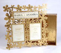 Wedding Invitations - Gold Mettalic Floral Photoframe with Wedding Invitations | WedMeGood #wedmegood #india #gold #mettalic