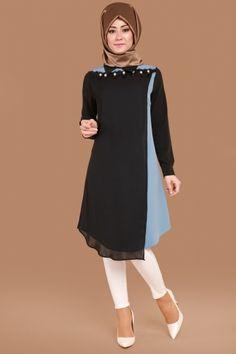 C.M.N - Göğsü Dantel ve Boncuk İşli Tunik ELF3475 Siyah&Mavi