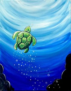Join us for a Paint Nite event Thu Oct 2018 at 170 Street Edmonton, AB. Purchase your tickets online to reserve a fun night out! Easy Canvas Art, Simple Canvas Paintings, Small Canvas Art, Easy Canvas Painting, Cute Paintings, Mini Canvas Art, Acrylic Painting For Kids, Framed Canvas, Sea Turtle Painting