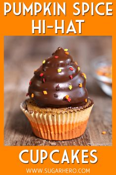 Pumpkin Spice Hi-Hat Cupcakes - pumpkin cupcakes filled with salted caramel, top. Pumpkin Spice Hi-Hat Cupcakes - pumpkin cupcakes filled with salted caramel, topped with a towering swirl of pumpkin Cupcake Videos, Cupcake Recipes, Cupcake Cakes, Dessert Recipes, Cupcake Fillings, Pumpkin Cupcakes, Pumpkin Dessert, Yummy Cupcakes, Pumpkin Pumpkin