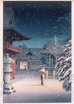 "Japanese Art Print ""Snow at Nezu Shrine (Woman in Snow)"" by Tsuchiya Koitsu, woodblock print reproduction, asian art, cultural art, snowfall Japanese Art Prints, Japanese Artwork, Japanese Painting, Japon Illustration, Japanese Illustration, Yakuza Style Tattoo, Japanese Woodcut, Art Asiatique, Art Japonais"