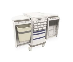 EXPAND WHEN NEEDED to triple your work surface area.  The Starsys Unit Dose Medication Cart comes with swing-out side storage, a 4 level medication cassette & bins and 3 drawers below with removable tote boxes.  Accessorized and ready for service, this cart features an electronic touchpad security system with a mechanical key lock backup.