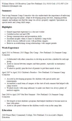 Youth Counselor Resume Pleasing Camp Belongs On Your Resume Highlighting The Professional .