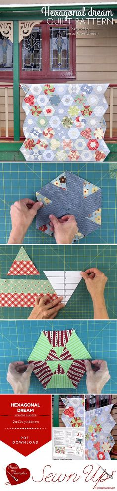 """Hexagonal Dream is a traditionally pieced hexagon sampler quilt. The quilt is put together without Y seams. - The quilt measures 60"""" x 59 ½"""" and has 48 hexagon blocks with 11 different block types and 8 half hexagon blocks. - The finished hexagon block is 7 ¼"""" x 8 ½"""". - This quilt is jelly roll and fat quarter friendly. - Skill level for this quilt is confident beginner / intermediate. - The pattern includes a 60 degree ruler template. - Lots of diagrams and written instructions as well..."""