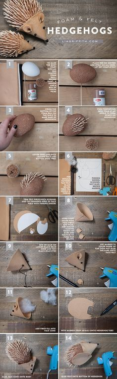 Sewing For Kids Easy DIY Hedgehog for Kids to Craft - Kids craft: make this super cute felt and foam ball hedgehog with the kids. Cute Crafts, Crafts To Do, Fall Crafts, Christmas Crafts, Arts And Crafts, Sewing For Kids, Diy For Kids, Sewing Ideas, Hedgehog Craft