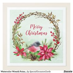 Shop Watercolor Wreath Poinsettia & Bird Christmas Paper Dinner Napkins created by SpecialOccasionCards. Christmas Paper Napkins, Paper Dinner Napkins, Christmas Hearts, Christmas Holidays, Christmas Flowers, Wedding Napkins, Wedding Table, Wreath Watercolor, Watercolor Christmas