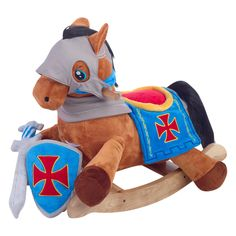 Camelot is calling your little Knight to protect the castle and save the Kingdom. This knight's horse is a Play and Rock rocker complete with a sword and shield that matches their horse. I should make something like this for the boys' horse for Christmas...