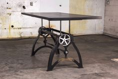IndustriaLux Sit Stand Crank Desk, designed and built by Vintage Industrial in Phoenix. Furniture, Industrial Furniture, Vintage Desk, Reclaimed Wood Ceiling, Sit Stand Desk, Industrial Interiors, Vintage Industrial, Vintage Industrial Furniture, Desk