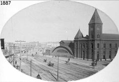 The original Union Station built in 1883 on Hennepin Ave. near High St. in Minneapolis, Minnesota.  This location is now the site of the central Minneapolis Post Office.