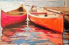 Canoe Paintings - Canoe Friends Acrylic  by Jenny Gordon