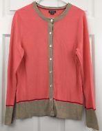 Eddie Bauer Cardigan Sweater Lightweight Cotton Button Salmon Pink Beige Size M