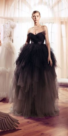 Going black on your wedding day? Try some of these black wedding dress ideas! These gowns are stunning, elegant, and most of all black! Ombre Wedding Dress, Black Wedding Gowns, Colored Wedding Gowns, Gothic Wedding, Trendy Dresses, Prom Dresses, Beautiful Gowns, Elie Saab, Ball Gowns