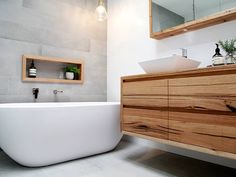 Introducing the latest member in our range of timber vanities - the Iluka ! Featuring beautiful recycled Messmate timber, this floating timber vanity would be the standout feature in any modern bathroom. Timber Bathroom Vanities, Timber Vanity, Bathroom Niche, Wooden Bathroom, Bathroom Trends, Bathroom Renovations, Small Bathroom, Bathroom Ideas, Bathroom Design Inspiration