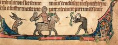 A monkey riding a goat carrying an owl, a very surprised hunter and an unfortunate rabbit.  Lambeth Palace Library MS 75,  Apocalypse in French,  late 13th century.