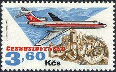 Sello: Tupolev 154 ; Trencin castle (Checoslovaquia) (50 Years Of Aviation) Mi:CS 2171,Sn:CS C82,Yt:CS 2016,AFA:CS 2015,POF:CS L79