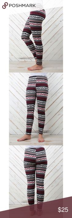 """🆕[altar'd state] deer field leggings • style name: deer field leggings • color: black & red multi print • see above for details from company website • super warm & comfy fleece lined leggings • condition: never worn, new w/o store tag, only the plastic """"barb"""" remains attached from the tag ____________________________________ ✅ make an offer!     ✅ i bundle!                      ⛔️ posh compliant closet & no trades               🛍 boutique item Altar'd State Pants Leggings"""